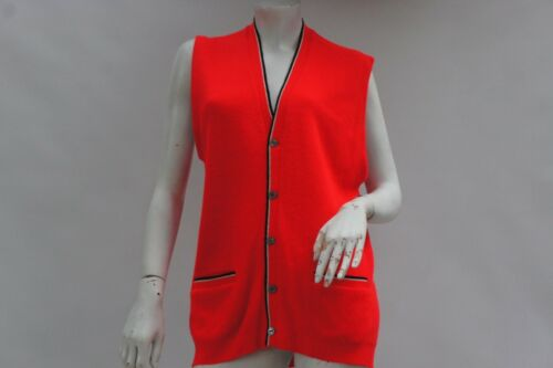 Vintage 60s-70s Men's Neon Red Sweater Vest Sports