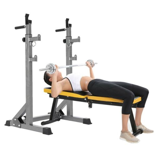Adjustable Barbell Rack Weight Lifting Bench Press Squat Rack Pull Up Bar Gym