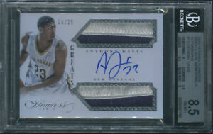 2013-14-Anthony-Davis-Panini-Flawless-GREATS-Dual-PATCH-AUTO-25-25-BGS-9-10