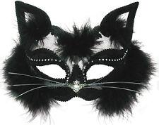 BLACK CAT MASQUERADE EYE MASK CAT WOMEN TRANSPARENT HALLOWEEN FANCY DRESS EM433