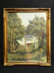 Antik-Ol-auf-Tafel-Unterzeichnet-in-Niedrig-Rechts-Landschaft-Impressionist