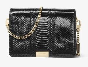 Details about $398 Michael Kors KORS JADE SNAKESKIN black leather crossbody bag purse