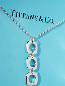Tiffany-amp-Co-Cojin-Triple-Colgante-Collar-de-Plata-de-Ley