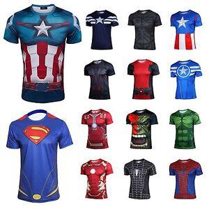 Tee Sleeve T Shirts Marvel Comics Cycling Superhero Short Costume LRjS4Aq3c5