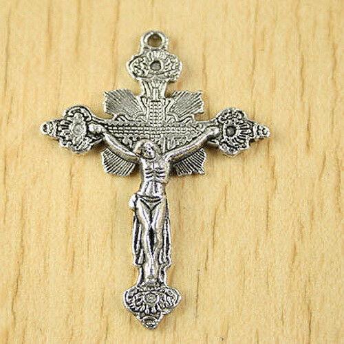 5pcs Tibetan silver crucifix charms h2743