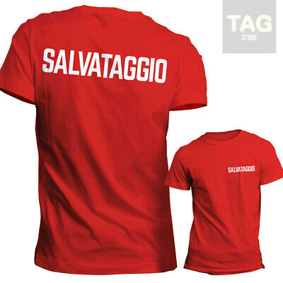 T-SHIRT TSHIRT SALVATAGGIO BAGNINO SALVAMENTO LIFEGUARD baywatch ROSSA BIANCA