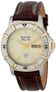 Bulova-Men-039-s-98C71-Marine-Star-100M-Brown-Leather-Stainless-Steel-Quartz-Watch