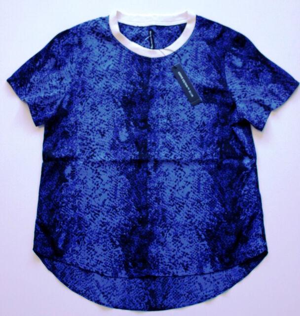 W118 by Walter Baker nicholess blue//black//white peplum top  size s-xs-m