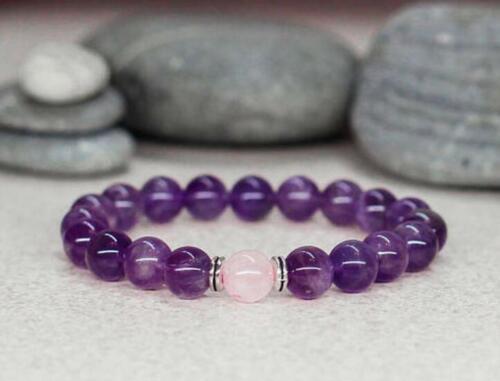 8 mm Rose Agate Améthyste Bracelet Mala Manchette yoga bouddhisme Bless À faire soi-même Unisexe Energy