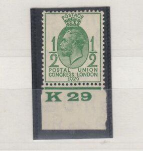 GB-KGV-1929-1-2d-Green-PUC-K29-Control-SG434-MNH-J5389