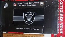 OAKLAND RAIDERS GAME TIME CERAMIC SNACK PLATTER VERY COOL NEW IN BOX