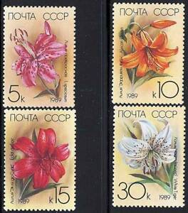 Russia-1989-FLOWERS-LILIES-MNH-A15