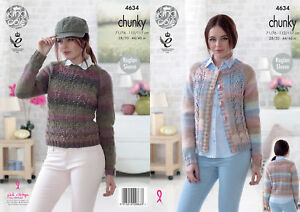 7de33265be484c Image is loading Raglan-Sleeve-Lacy-Cardigan-Jumper-Ladies-Chunky-Knitting-