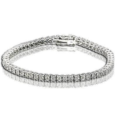 One Row Genuine Diamond Sterling Silver Tennis Bracelet