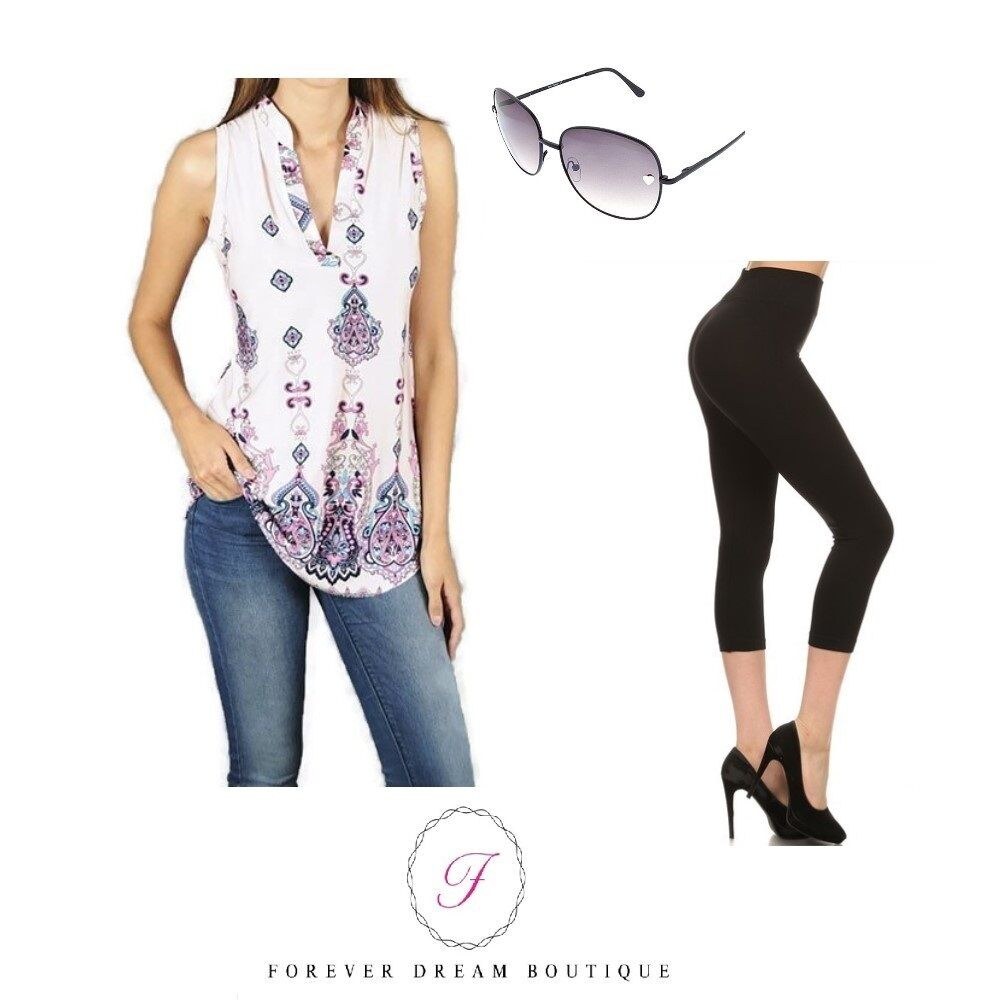 Women's Pink Bohemian Sleeveless Top Blouse, Capri Legging and Sunglass Set