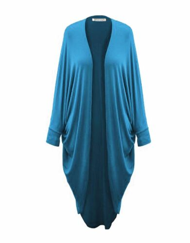 Ladies Batwing Waterfall Cocoon Open Boyfriend Cardigan Plain Kimono Maxi Shawl