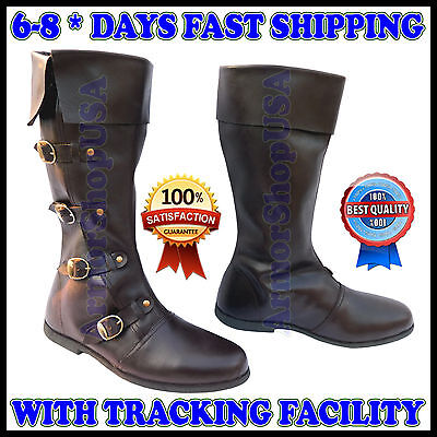 MEDIEVAL LEATHER BOOTS RENAISSANCE VIKING PIRATE SHOE MENS BROWN LONG SHOES SCA.