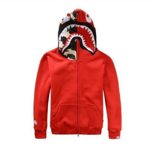 Bape A Bathing Ape Jacket Sweat SHARK Head Camo FULL ZIP HOODIE Long Sleeve Coat
