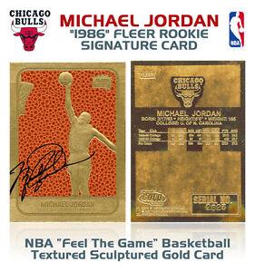 1986-MICHAEL-JORDAN-Fleer-ROOKIE-Feel-The-Game-NBA-23K-Signature-GOLD-Card