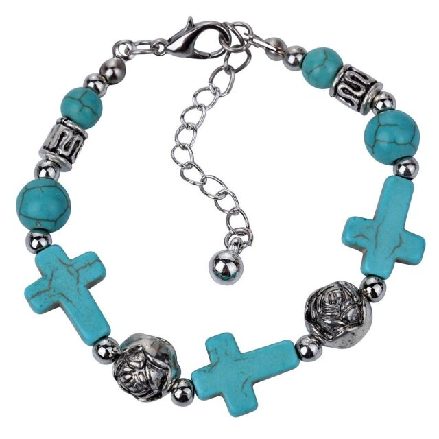 xmas Women Jewelry Turquoise Bead Cross Tibetan Silver chain Bracelet Bangle