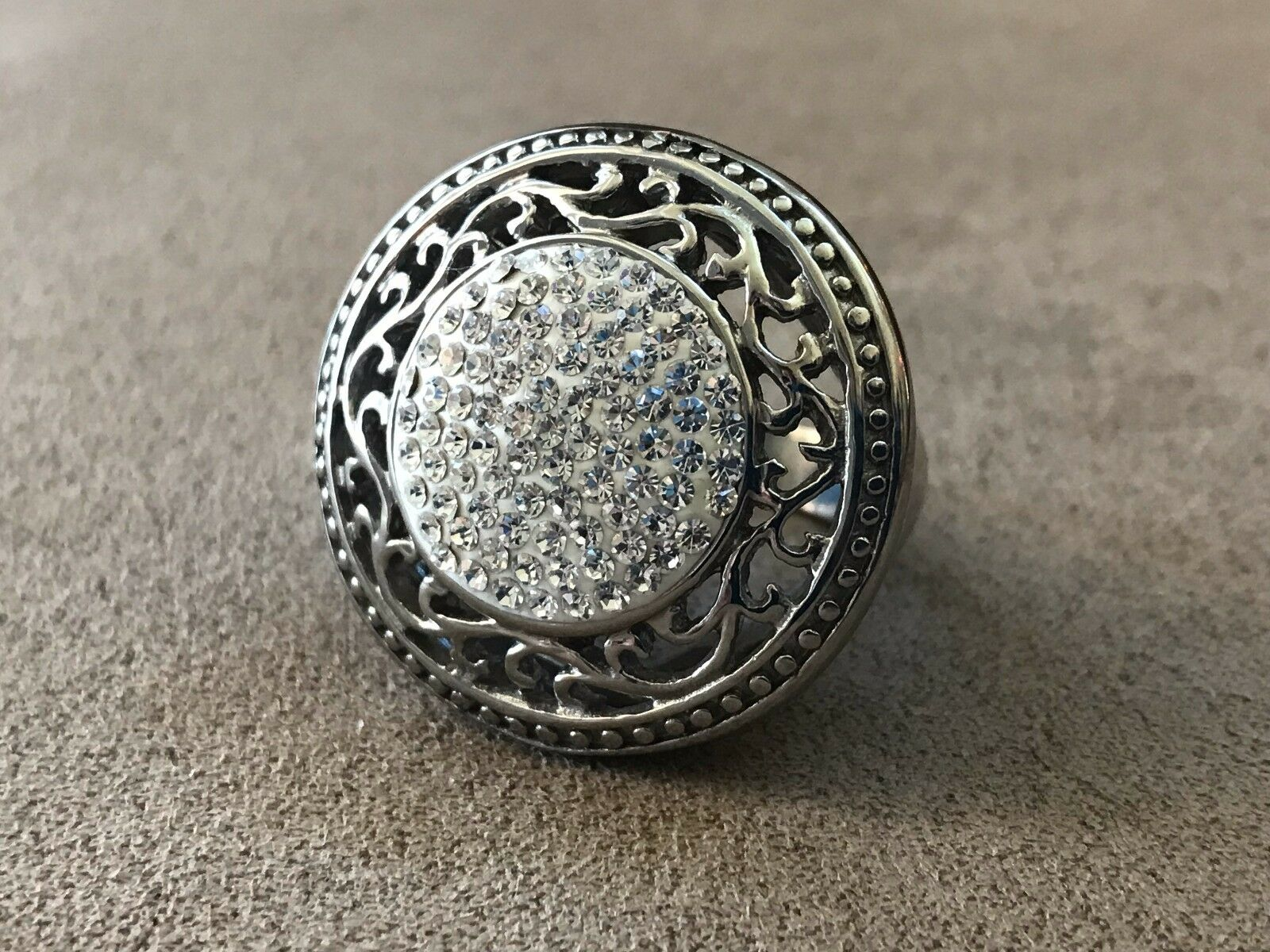 PJM Filigree Stainless Steel Ring SIze 10