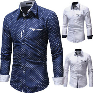 New-Luxury-Men-039-s-Stylish-Casual-Shirt-Slim-Fit-T-Shirt-Long-Sleeve-Formal-Tops