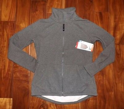 Gray Mock Zip Snuggle Fleece Jacket Sz