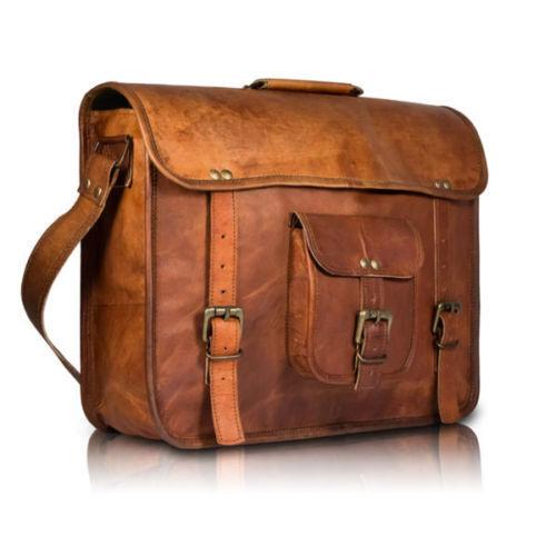 """Men/'s Real Goat Leather Vintage 18/""""Brown Messenger Shoulder Laptop Bag Briefcase"""