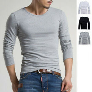 Fashion-Men-039-s-Slim-Fit-Cotton-Shirts-Crew-Neck-Long-Sleeve-Casual-T-Shirt