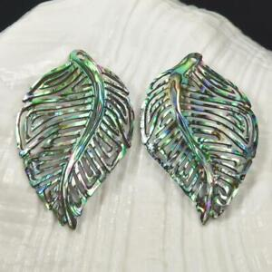 Multicolor-Paua-Abalone-Shell-Iridescent-Carved-Abstract-Leaf-Earring-Pair-2-42g