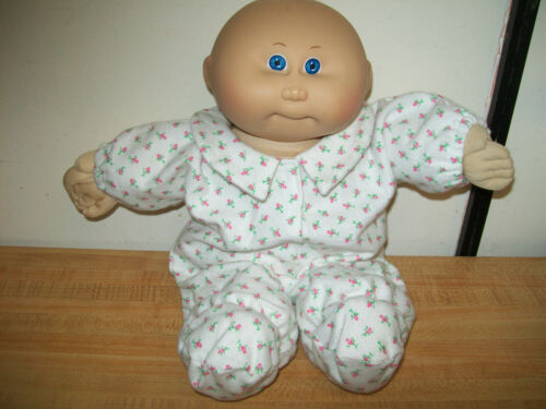 "PINK or BLUE ROSEBUD PREEMIE BABY PJS SLEEPER PAJAMAS for 15/"" Cabbage Patch Kid"