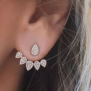 HOT-GOLD-TONE-Crystal-Diamonte-DOUBLE-SIDES-STUD-Cuff-Earrings-ladies-gift-XMAS