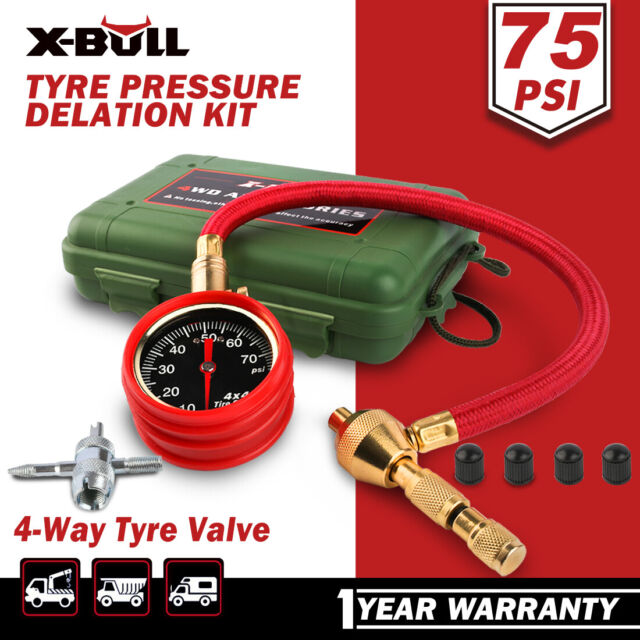 X-BULL Rapid Tyre Tire Deflator Air 75PSI with Pressure Gauge Valve Tool 4x4 4WD