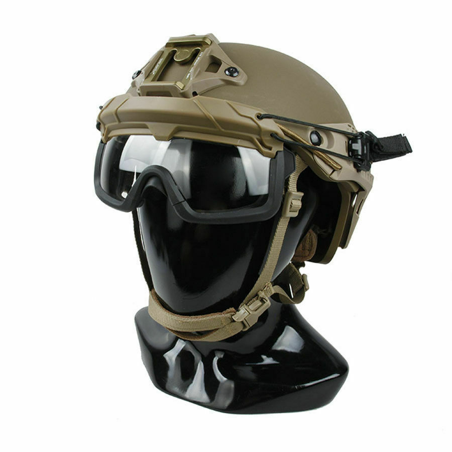 Outdoor Tactical SF Helmet QD Anti Fog Goggles Wind Dust Predection Glasses