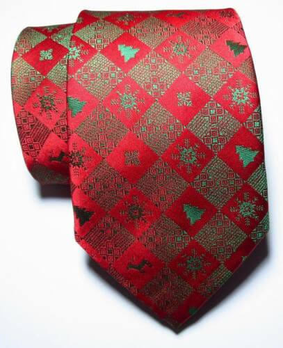 New Classic christmas style Red Green JACQUARD WOVEN 100/% Silk Men/'s Tie Necktie