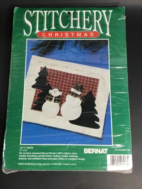Let It Snow Wall Hanging Kit Christmas Stitchery Snowman 11x9 W62010 Bernat