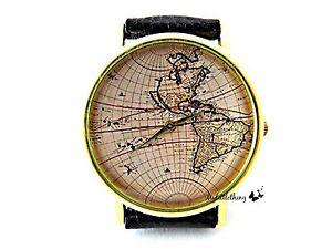 World Map Watch Handmade Map Leather Wrist Watch With Genuine ...