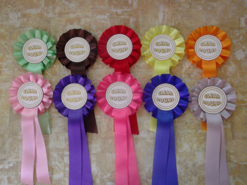 DOG HORSE EQUESTRIAN choose your colour A set of 10 CLEAR ROUND rosettes