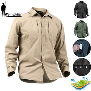 Mens-Military-Shirt-Army-Combat-Tactical-Long-Sleeve-Shirt-Casual-Pockets-Hiking
