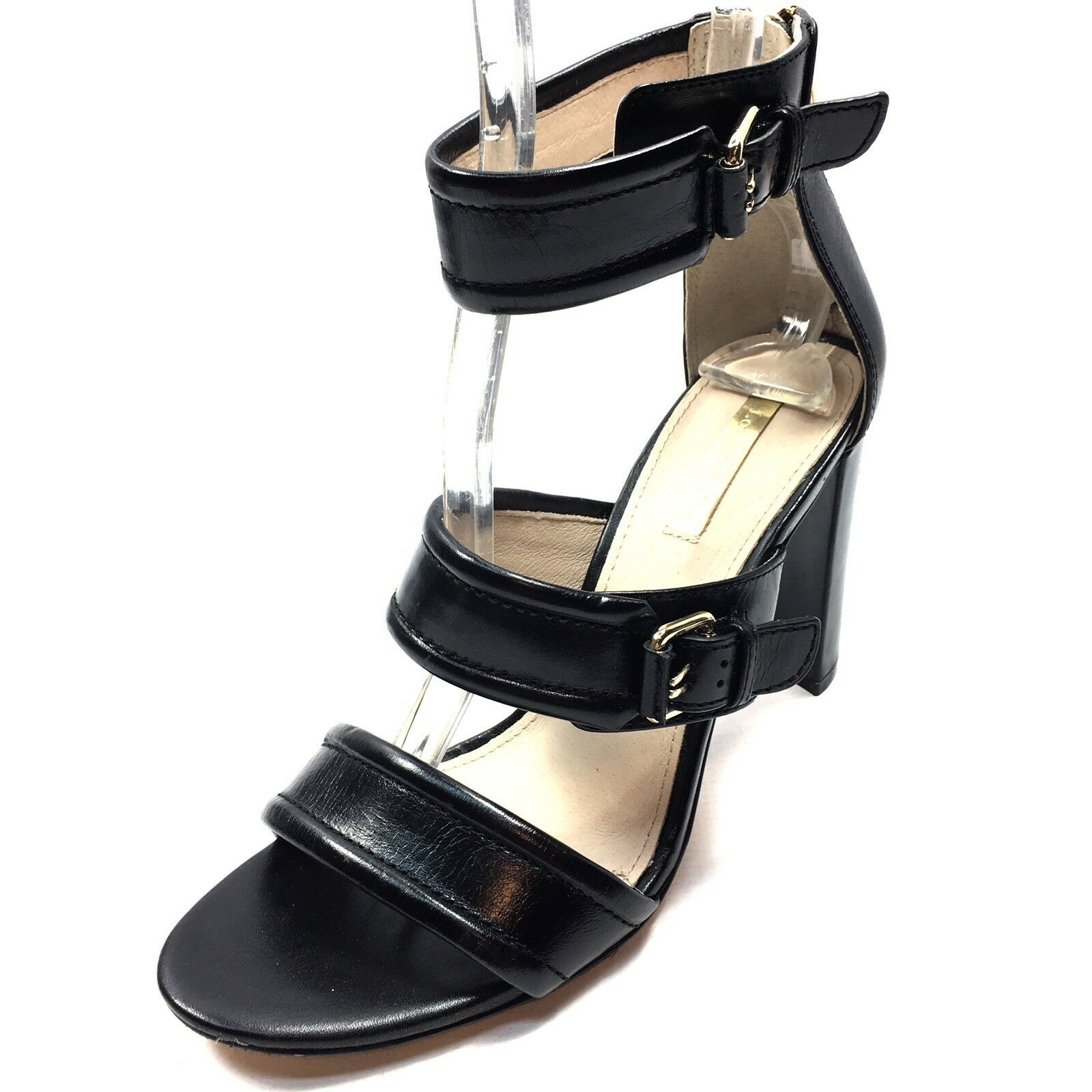Louise et Cie Gisabel Women's Ankle Strap Sandals Black Leather Size 7.5 M