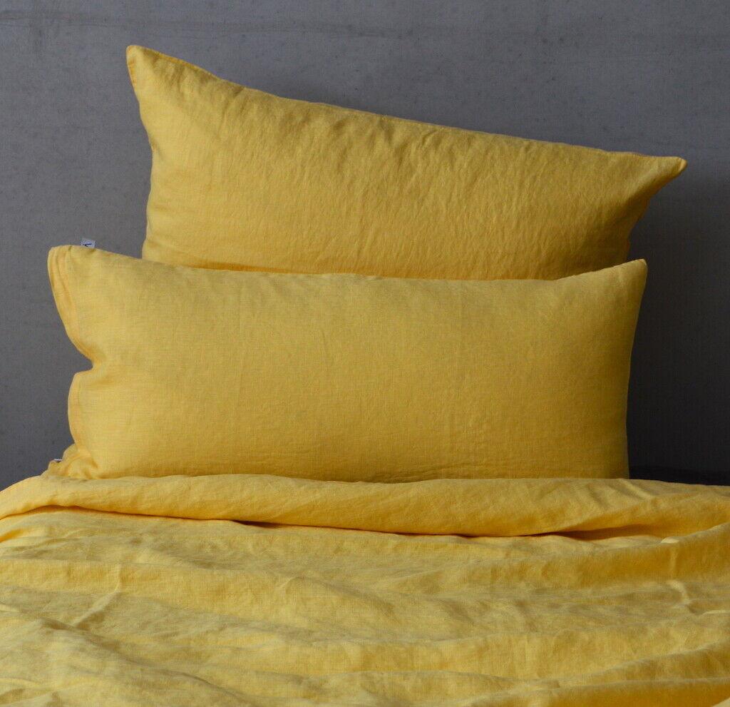 Leinen Bettwäsche Garnitur, Gelb, 135x 200 cm,40x 60 cm,40x 80 cm,80x 80 cm