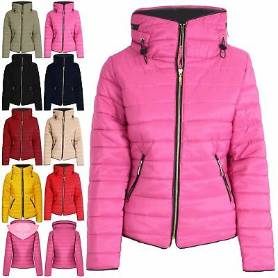 Vorsichtig Womens Coat Padded Ladies Quilted Puffer Bubble Fur Collar Zip Up Thick Jacket