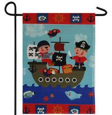 "PIRATE KIDS CHILDREN SHIP PIRATES GARDEN BANNER/FLAG 12""X18"" SLEEVED POLY"