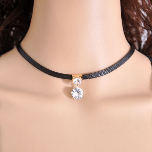 Women Punk Goth Velvet Leather Rivet Heart Ring Collar Choker Necklace Jewelry