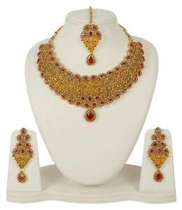 Fashion Indian Wedding Gold Tone Bridal Jewelry Necklace Earring Set