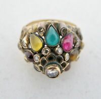 Antique 14K Yellow Gold Cocktail Ring with Diamonds & Gemstones (7.8g, size 4.5)