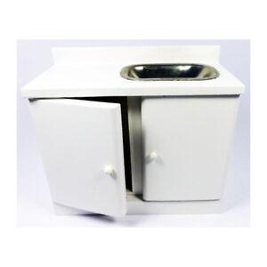 Kim 10136 Lavabo Blanc Bois 1:12 Pour Maison De Poupée Nouveau! #-afficher Le Titre D'origine à Tout Prix