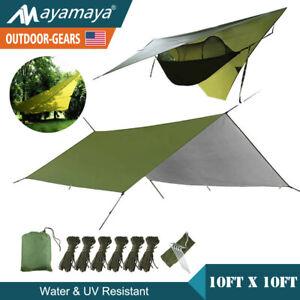 10-039-x10-Hammock-Rain-Fly-Tent-Tarp-Waterproof-Camping-Sun-Screen-Shade-Shelter