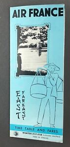 Details about AIR FRANCE FAR EAST AIRLINE TIMETABLE WINTER 1937/8 ROUTE MAP  HONG KONG SHANGHAI