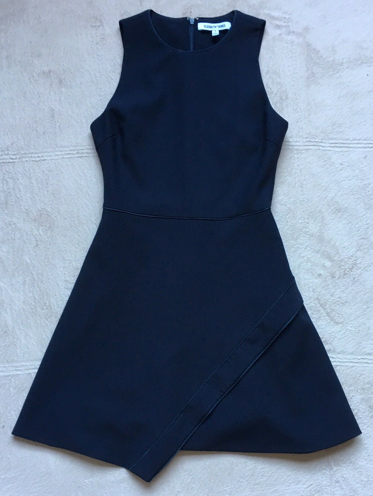 Elizabeth and James Ayla Ponte Dress, Sz 4, Navy, Flared Skirt, Asymmetrical Hem